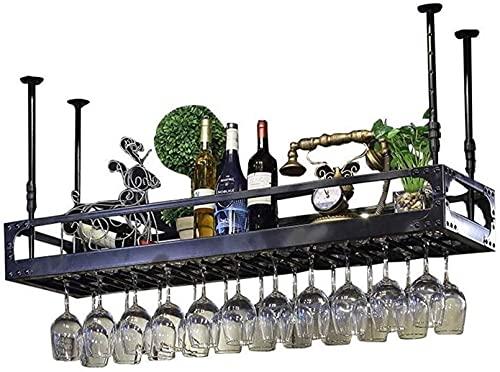 WYJW Estante para Colgar en el Techo para Copas de Vino Estilo Europeo Porta Botellas de Vino Decoración Copas Loft Estante para Copas para Bares (Color: Negro, Tamaño: 120x35cm)