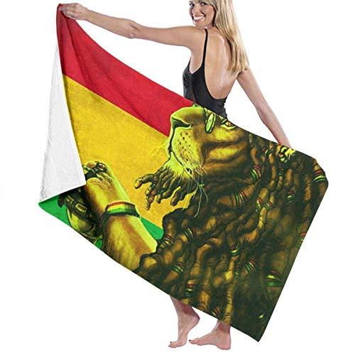 Rasta Lion Art Toalla de playa de microfibra para adultos, grande, 76 x 158 cm, secado rápido, muy absorbente, multiusos, para mujeres y hombres