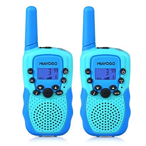 Miavogo 2 x Walkie Talkie für Kinder, Funkgerät PMR 8 Kanäle 3km Reichweite Woki Toki Funkhandy, Doppelblau