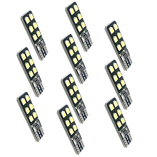 Baoblaze 10 Pièces LED T10 12 SMD Ultra-Brillant Lumière Blanc Ampoule Intérieur 5W 12V