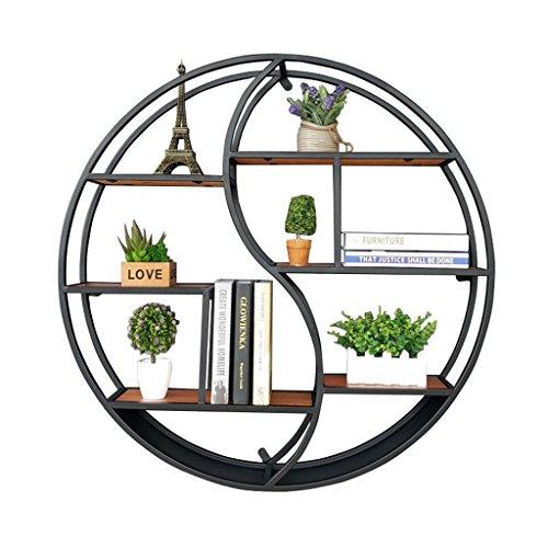 Étagère à cadre Rond Étagères Murales en bois et métal fer Salon Bar LOFT Cube Étagères Flottantes pour chambre Bureau ou Cuisine unité décoration vintage industrie Style-noir ( taille : 68*16*68cm )
