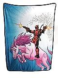 Marvel Deadpool Unicorn Fleece Soft Throw Blanket