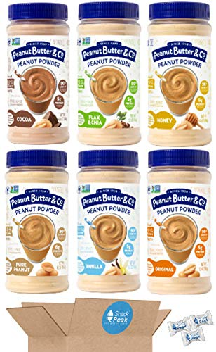 Peanut Butter and Co Peanut Butter Powder Snack Peak Variety Gift Box – Original, Chocolate, Vanilla, Flax and Chia, Honey and Pure Peanut