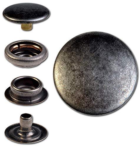 Hoppe & Masztalerz 15 Ringfeder-Druckknöpfe F3 17mm aus Messing (nickelfrei), Finish: Nickel-antik, Verschlusskraft: leicht
