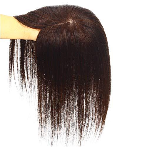 HIYE 部分ウィッグ ヘアピース 人毛100% 女性用 ウイッグ かつら 抜け毛 脱毛 白髪隠れ 総手植え 超リアルスキン 人毛で制作 分け目専用 カバーピース (栗色, 30cm)