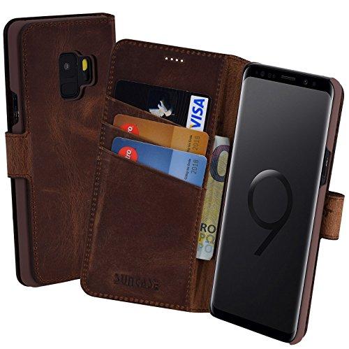 Suncase Book-Style (Slim-Fit) für Samsung Galaxy S9 Ledertasche Leder Tasche Handytasche Schutzhülle Hülle Hülle (mit Standfunktion & Kartenfach) antik Coffee