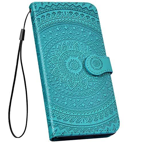 Ysimee kompatibel mit Huawei Y6 2018 Hülle 3D Bookstyle PU Leder Schutzhülle Wallet Flip Ledertasche Case Handyhülle Lederhülle Handy Tasche Schale [Standfunktion] [Kartenfach], Mandala Grün