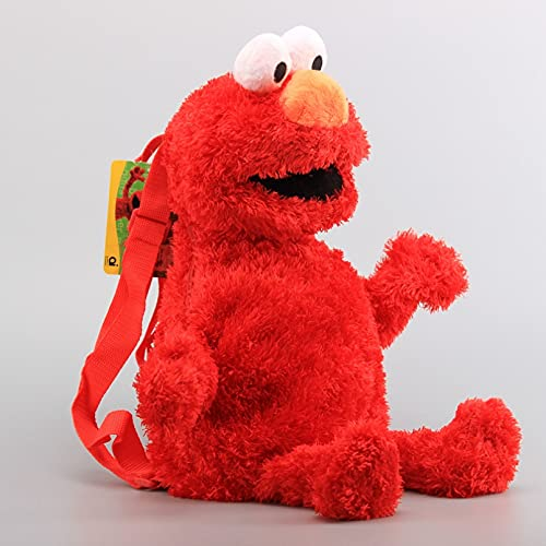 JINGZHONG 3 Colores 45cm Sesame Street Bolso Escolar de algodón de Felpa muñeca de Dibujos Animados Elmo Big Bird Cookie Monster Linda Mochila niños Regalo de cumpleaños