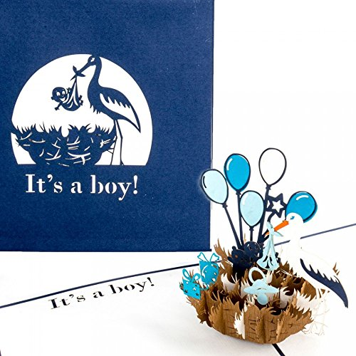 3D Birth Card Baby Boy – Pop Up Greeting & Congratulations Cards for the first birthday as little gift, voucher - Pop Up Geburtskarte in Englisch – English New Baby Born surprise Card for Birthday Boy