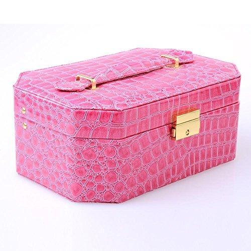 Boîte à bijoux, étui à bijoux verrouillable avec miroir , rose red , 22.5*15*9