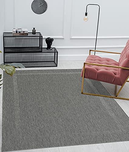 """Mia´s Teppiche """"Lara"""" Tapis Intérieur Et Extérieur Balcon Terrasse Tapis Cuisine, Toile Plate, 60x110 cm, Anthracite"""