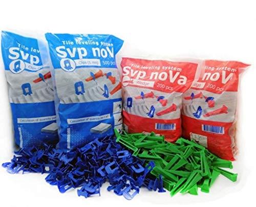 Sistema de nivelacion SVP NOVA 1mm,kit 500 calzos 200 cuñas 1 alicate metalico