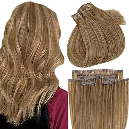 RUNATURE Hair Extension Clip Humain 16 Pouce Couleur 10P16 Piano Colour 10 Blonde Mixed With 16 Golden Blonde Cheveux Raides 80G,7Pcs Cheveux Humain N