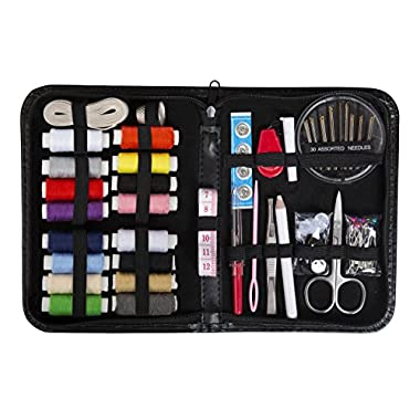 Compact Sewing Kit for Home, Travel, Camping and Emergency. Best Gift for Adults, Kids, Girls and Beginners. Mini Sew Supplies Set. Leather Case with 100 Extra Pins and Safety Pins (Medium)