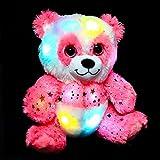 Hopearl LED Plush Panda Ultra Soft Light up Bear Stuffed Animal Floppy Night Lights Glow in The Dark Birthday Gifts for Kids Toddlers, Pink, 10.5''