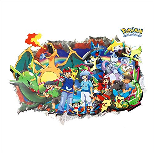 3 pcs/Cartoon Red Pikachu Durch Wandaufkleber Für Kinder Schlafzimmer Dekorationen 3D Pokemon Go Art Wandtattoos Diy Poster