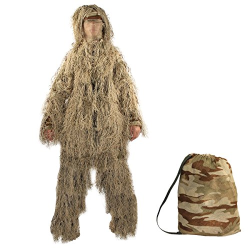 Latinaric Tenues De Camouflage Costume Ghillie Chasse Avec Feuilles 3D Des Vêtements Pour Photographie Airsoft Inclus Veste Pantalon Capuche Enveloppe De Pistolet Sac De Rangement 5 Pièces