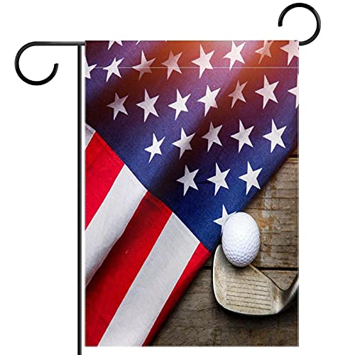 Bandera de jardín de bienvenida (30,5 x 45,7 cm) de doble cara, decoración al aire libre, pelota de golf con bandera de Estados Unidos en mesa de madera