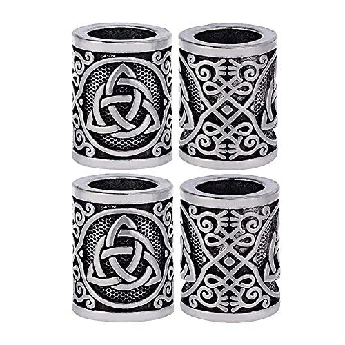 AMOZ 4 Piezas de Cuentas de Runas Vikingas, Cuentas de Triquetra de Nudos Celtas, para el Pelo, Barba, Pulsera, Colgante, Fabricación de Joyas, Héroe de la Moda