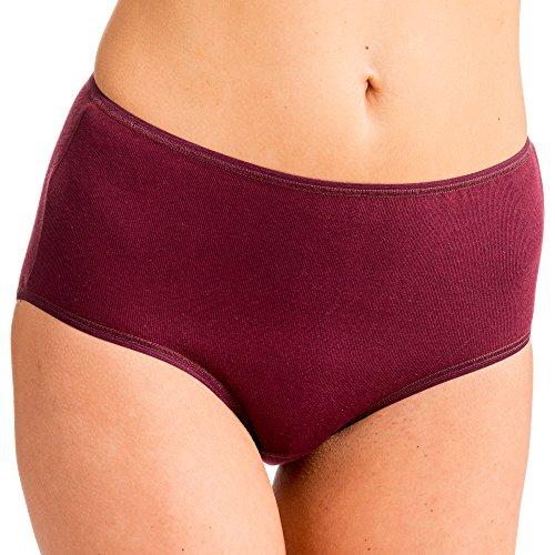HERMKO 1150 Damen Taillenslip mit elastischen Abschlüssen aus 100% Bio-Baumwolle, Farbe:Bordeaux, Größe:44/46 (L)