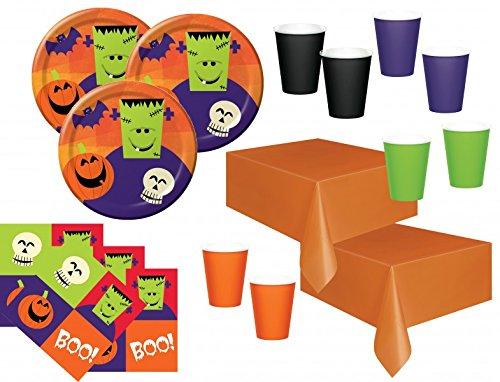 Kids Party World 102 TLG XXL Halloween Fingerfood Partygeschirr Set für 32 Personen
