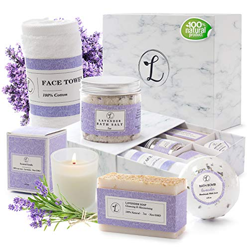 Spa Gift Set 100% Natural Lavender, Gift Box Includes: Bath Bomb, Bath Salt, Hand Soap, Scented Candle, Face Cloth and Gift Box. Best Gift for Her.