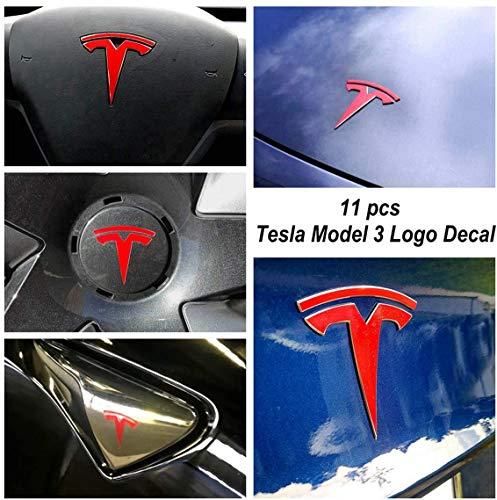 GetALift Tesla Model 3 Logo Aufkleber Wrap - 11 Stück pro Set (Glänzend Rot)