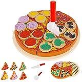 KRUZZEL Pizza-Set Zubehör aus Holz für Kinderküche und Kaufladen Inklusive Schneidebrett und Pizzaschneider 27 Teile 9354