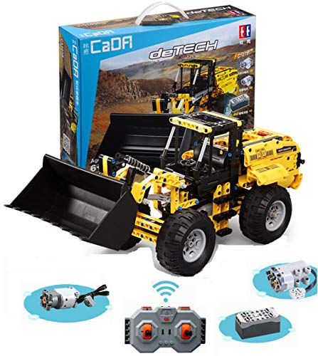 PEXL Technik Radlader Bausteine Bausatz, Technic Frontlader Modell mit 2.4G Fernbedienung und Motoren, 490 Klemmbausteine Kompatibel mit Lego Technic