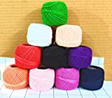Quality bit Embroidery Material Crochet Cotton Thread Yarn for Knitting and Craft Making (10 Ball, Multicolor)