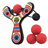 Mighty Fun Mischief Maker Wooden Toy Slingshot Real Wood and Soft Foam Balls (Red Classic)