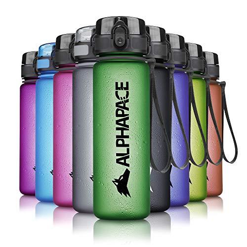 ALPHAPACE Trinkflasche, auslaufsichere 500 ml Wasserflasche, BPA-freie Flasche für Sport, Fahrrad & Outdooraktivitäten, Sportflasche mit Fruchteinsatz, in Dark-Green