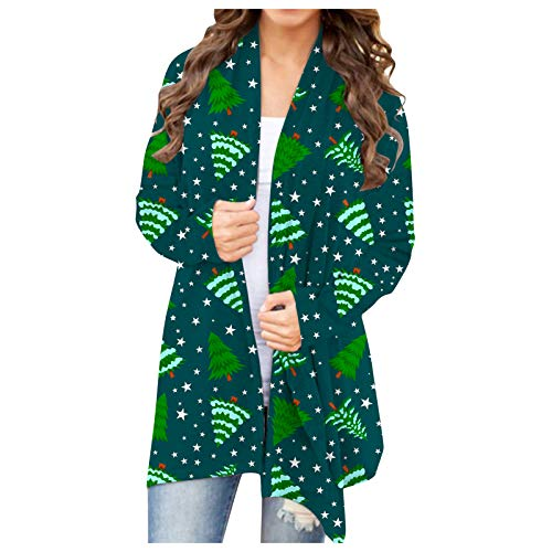Dasongff Damen Weihnachten Drucken Cardigan Bunter Tunika Tops Langarm Kimono...