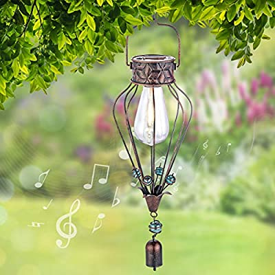 Hanging Solar Lantern Lights Outdoor Decorative for Garden Yard Patio Porch. Garden Decor Solar Powered, with Wind Chime & Filament Bulb