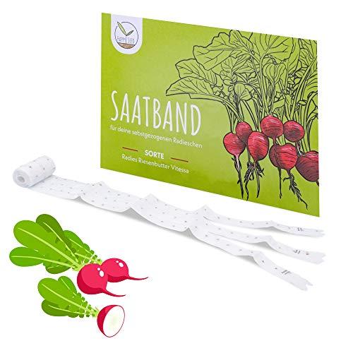 5m Saatband Radieschen Samen (Radies Riesenbutter Vitessa) - Saftig, rote Radieschen ideal für die Anzucht im Garten, Balkonkasten & Gemüsebeet