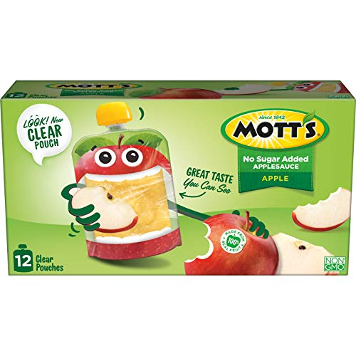 Mott's No Sugar Added Applesauce, 3.2 Ounce (Pack of 12) Clear Pouch, Perfect for on-the-go, No Added Sugars or Sweeteners,...