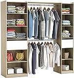 Begehbarer Kleiderschrank #5077 in der Breite verstellbart und offen Garderobe Schrank Regal 2X...