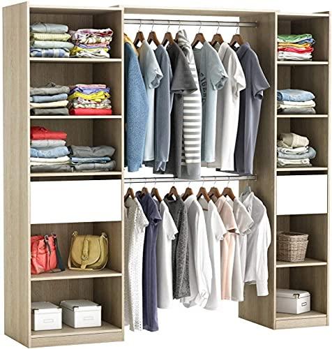 Begehbarer Kleiderschrank #5077 in der Breite verstellbart und offen Garderobe Schrank Regal 2X Schublade Schlafzimmer (Weiß/Natur)