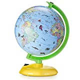 Illuminated World Globe for Kids Learning, DIPPER 8 Inch Globe of The World with Stand, LED Light Illuminates for Night View, Globe Map Learning Tool Educational Gift for Kids Children Adults