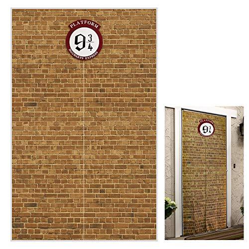 Plataforma de 9 y 3/4 de la estación de cruz del rey de ladrillo rojo para fiesta de la pared, pasaje secreto a la escuela mágica, cortina de puerta de poliéster de 50 x 79 pulgadas para decoración de Halloween de Harry Potter, Marrón