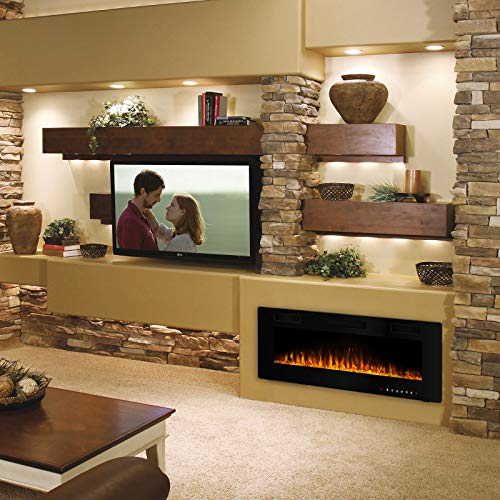 Waleaf 50 inch Electric Fireplace Recessed and Mounted, Built in Wall Fireplace Heater with Multicolor Flame, Flush Mount Linear Fireplace, Wall Insert Fireplace with Remote Control & Touch Screen