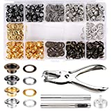 1/4 Inch Grommet Kit 200 Sets Grommets Eyelets with Install Tool Kit, 4 Colors Grommets Kit with Storage Box for Craft Making, Repair, Decoration and DIY Projects