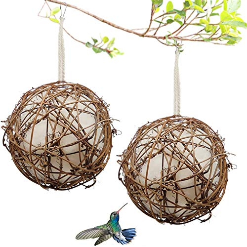 CRZJ Nidi di colibrì, Set di 2 Case di nidificazione di colibrì, batuffoli di Cotone ricaricabili stazione di nidificazione per uccelli per mangiatoia per uccelli selvatici all'aperto