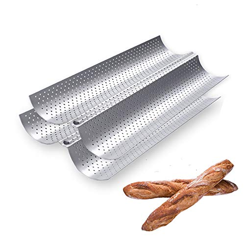 Perforated Baguette Pan, 2 Pack French Bread Baking 2/3/4 Wave Loaves Loaf Bake Mold Toast Cooking Bakers Molding Gutter Oven Toaster Pan(15' x 6.5')-Silver