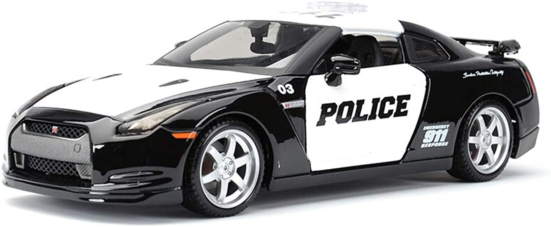 Model car Car model GTR police car version 1 24 scale model alloy model diecasting model collection decoration decoration gift (color   Red)