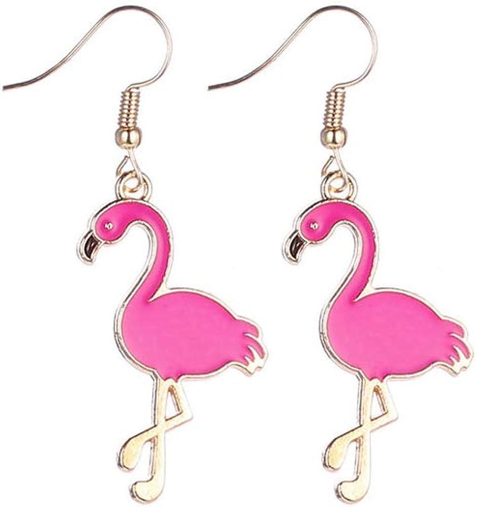 BELUCKIN Lovely Pink Flamingo Bird Pendant Necklace Earrings for Women Girl Jewelry Set