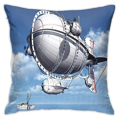 baoan Funda de almohada para cojín, diseño de aviones gigantes sobre el mar volando en cielo nublado, imagen de viaje de aventura, 45,7 x 45,7 cm