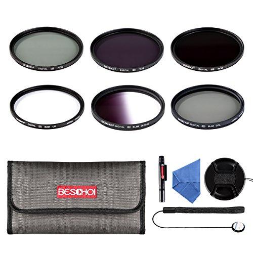 Beschoi 77MM Filtro Kit (UV+CPL+ Filtro Grigio Graduale Grigio, ND2+ND4+ND8 Filtri a Densità Neutra)11Pcs Obiettivi Accessori per DSLR Camera