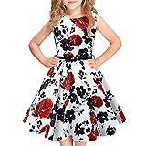 Idgreatim Mädchen Halloween Sommerkleid Kürbis 1950 Rockabilly Swing Sommerkleid, White, Gr.- 9-10 Jahre/ Large