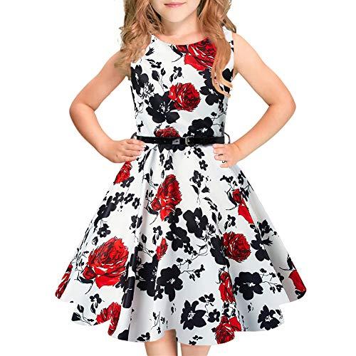 Idgreatim Mädchen Halloween Sommerkleid Kürbis 1950 Rockabilly Swing Sommerkleid, White, Gr.- 11-12 Jahre/ XL